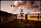Excursion train at road crossing east of Durango (RMRRC)<br /> D&amp;RGW  Durango, CO  5/30/1966