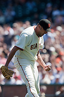 22 April 2009: San Francisco Giants' Jeremy Affeldt reacts after striking out a batter during the San Francisco Giants' 1-0 win  in the 10th inning over the San Diego Padres at AT&T Park in San Francisco, CA.