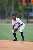 Detroit Tigers second baseman Yoneiry Acevedo (28) during an Instructional League game against the Philadelphia Phillies on September 19, 2019 at Tigertown in Lakeland, Florida.  (Mike Janes/Four Seam Images)