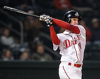 April 3, 2008: David Mailman (11) of the Greenville Drive, Class A affiliate of the Boston Red Sox, hits during the season opener against the Kannapolis Intimidators at Fluor Field at the West End in Greenville, S.C.   Photo by: Tom Priddy/Four Seam Images