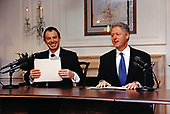 United States President Bill Clinton, right, and Prime Minister Tony Blair of Great Britain, left, deliver the weekly radio address from the White House in Washington, DC on February 6, 1998<br /> Credit:  White House via CNP