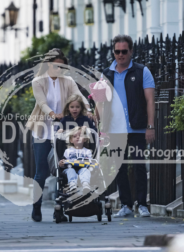 Princess Madeleine of Sweden, her husband Christopher O'neill and their children Leonor and Nicolas so natural celebrating her 35 birtbday with her family along the London Streets. On June 10, 2017.<br /> _________<br /> For Spain publications required by Law pictures containing children must pixelate their faces prior to publication. DYDPPA photo agency don't take any responsibility if the publications do not pixelate children faces.
