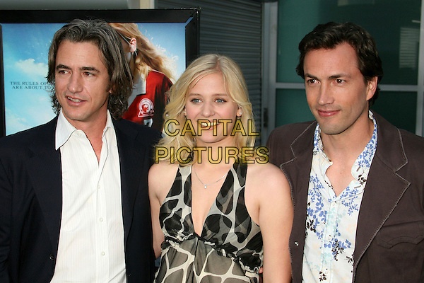 """DERMOT MULRONEY, CARLY SCHROEDER & ANDREW SHUE.""""Gracie"""" Los Angeles Premiere at ArcLight Theatres, Hollywood, California, USA..May 23rd, 2007.half length white black jacket blue floral print shirt giraffe print.CAP/ADM/BP.©Byron Purvis/AdMedia/Capital Pictures"""