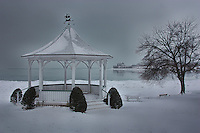 A moody winter view of the the gazebo in Niagara-on-the-Lake.