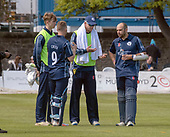 Issued by Cricket Scotland - Scotland V Afghanistan 2nd One Day International - Grange CC - National Head Coach Shane Burger at drinks with openers Coetzer and Cross - picture by Donald MacLeod - 10.05.19 - 07702 319 738 - clanmacleod@btinternet.com - www.donald-macleod.com