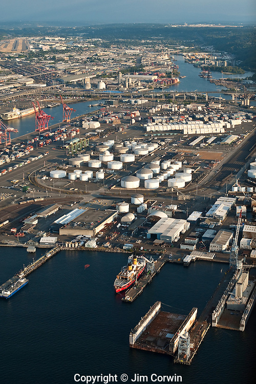 Aerial image of Port Of Seattle industrial area with boat repair and oil and gas tanks