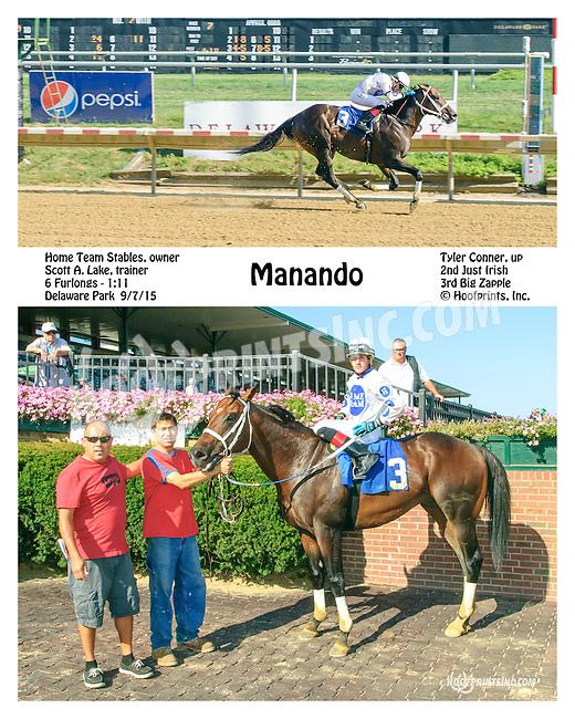 Manando winning at Delaware Park on 9/7/15