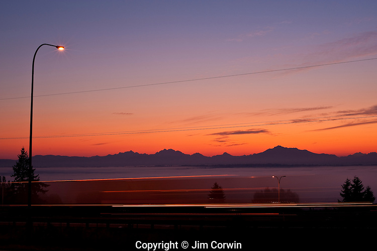 Cascade Mountain Range sunrise with fog in Snohomish Valley