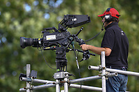 TV cameras broadcast the match on BT sport during Chelsea Women vs Manchester City Women, FA Women's Super League FA WSL1 Football at Kingsmeadow on 9th September 2018
