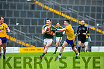 Kerry Tom O'Sullivan flys past Roscommon's Sean McDermott during their NFKL Div 1 clash in Fitzgerald Stadium on Sunday