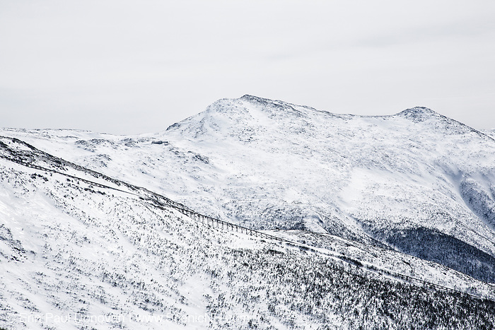 Mount Monroe from the Jewell Trail in the White Mountains, New Hampshire USA on a typical gray overcast winter day.