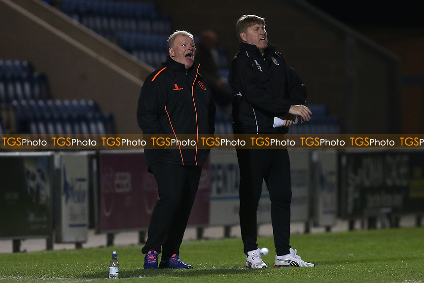 Mansfield Town manager Steve Evans (L) during Colchester United vs Mansfield Town, Sky Bet EFL League 2 Football at the Weston Homes Community Stadium on 14th March 2017