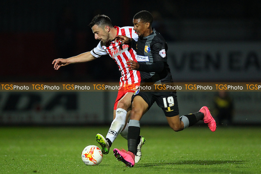 Chris Whelpdale of Stevenage and Reggie Lambe of Mansfield Town during Stevenage vs Mansfield Town, Sky Bet League 2 Football at the Lamex Stadium, Stevenage, England on 29/09/2015