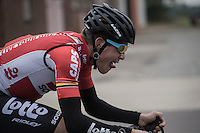The signature Jelle Wallays (BEL/Lotto-Soudal) war-face<br /> <br /> 83rd Nationale Sluitingsprijs Putte-Kapellen 2016 (UCI Europe Tour cat 1.1 / 189km)