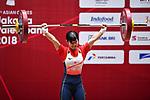 Ibuki Takahashi (JPN), <br /> AUGUST 20, 2018 - Weightlifting : Women's 48kg at JIExpo Kemayoran Hall A during the 2018 Jakarta Palembang Asian Games in Jakarta, Indonesia. <br /> (Photo by MATSUO.K/AFLO SPORT)