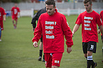 Prestatyn Town 0 Port Talbot Town 0, 19/10/2013. Bastion Gardens, Welsh Premier League. Home team players with Welsh language t-shirts with the legend 'Show Racism the Red Card' at Bastion Gardens prior to the match between Prestatyn Town and visitors Port Talbot Town in the Welsh Premier League. Prestatyn Town were Welsh Cup winners in 2013. The match ended goalless and was watched by 211 spectators. Photo by Colin McPherson.