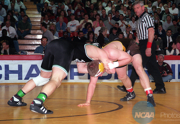 Caption: 14 MAR 1998: Mike Schadwinkle (left) of Adams State attempts to take down Link Steffen of Southwest State in the 190lb weight division of the Men's Division II Wrestling Championship held in Pueblo, CO. Steffen, however, defeated Schadwinkle for the championship title. Bill Sabo/NCAA Photos
