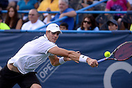Washington, DC - August 5, 2015: John Isner of the USA makes a backhand shot in a match against Victor Estrella Burgos of the Dominican Republic during the Citi Open tennis tournament at the FitzGerald Tennis Center in the District of Columbia August 5, 2015.  (Photo by Don Baxter/Media Images International)