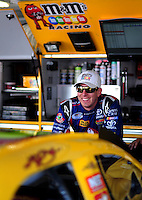 Sept. 27, 2008; Kansas City, KS, USA; Nascar Sprint Cup Series driver Kyle Busch during practice for the Camping World RV 400 at Kansas Speedway. Mandatory Credit: Mark J. Rebilas-