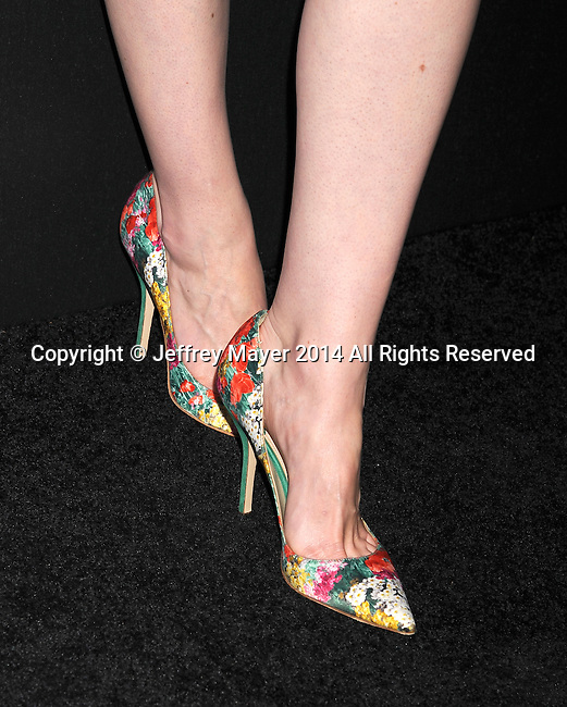 LOS ANGELES, CA- AUGUST 21: Actress Michelle Dockery (shoe detail) at the Audi Emmy Week Celebration at Cecconi's Restaurant on August 21, 2014 in Los Angeles, California.