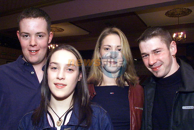Bernard Clarke, Katie Bush, Aisling Donegan and Joe Austin pictured at Bernard's 21st birthday in Newtown Country Club..Picture: Arthur Carron/Newsfile