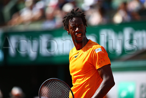 5th June 2017, Roland Garros, Paris, France; French Open tennis championships;  GAEL MONFILS (FRA)  during day nine match of the 2017 French Open on June 5, 2017, at Stade Roland-Garros in Paris, France.