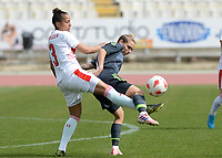 20180305 - LARNACA , CYPRUS : Swiss Caroline Muller (left) pictured in a duel with Welsh Jessica Fishlock (r) during a women's soccer game between Switzerland and Wales , on monday 5 March 2018 at GSZ Stadium in Larnaca , Cyprus . This is the third game in group A for Switzerland and Wales during the Cyprus Womens Cup , a prestigious women soccer tournament as a preparation on the World Cup 2019 qualification duels. PHOTO SPORTPIX.BE | DAVID CATRY