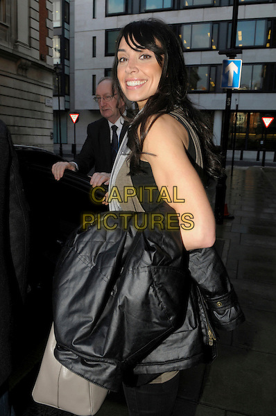 Christine Bleakley spotted in central London, England..5th January 2012.half length black scarf grey gray top bag purse beige carrying holding jacket side.CAP/IA.©Ian Allis/Capital Pictures.