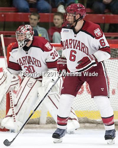 Kevin Guiltinan (Harvard - 6) - The Harvard University Crimson defeated the visiting Bentley University Falcons 3-0 on Saturday, October 26, 2013, in Harvard's season opener at Bright-Landry Hockey Center in Cambridge, Massachusetts.