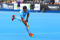 Harmanpreet Singh of India shoots with in the D during the Hockey World League Semi-Final 5-8th place match between Pakistan and India at the Olympic Park, London, England on 24 June 2017. Photo by Steve McCarthy.