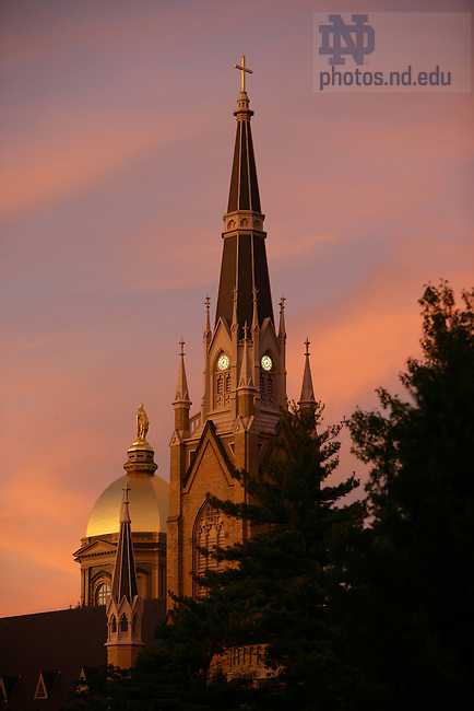 Dome and Basilica at sunset.<br />