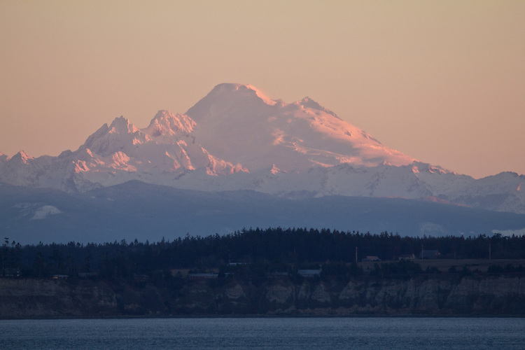 Port Townsend, Mount Baker, sunrise, Puget Sound, Salish Sea, Washington State, Pacific Northwest, United States, mountains, stratovolcanoes,