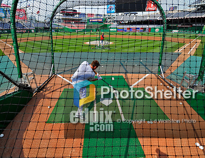 12 July 2008: Washington Nationals' third baseman Ryan Zimmerman takes daytime batting practice prior to an evening game against the Houston Astros at Nationals Park in Washington, DC. The Astros defeated the Nationals 6-4 in the second game of their 3-game series. Zimmerman, on the Disabled List, prepares for a rehab start heading into the second half of the season.. .Mandatory Photo Credit: Ed Wolfstein Photo