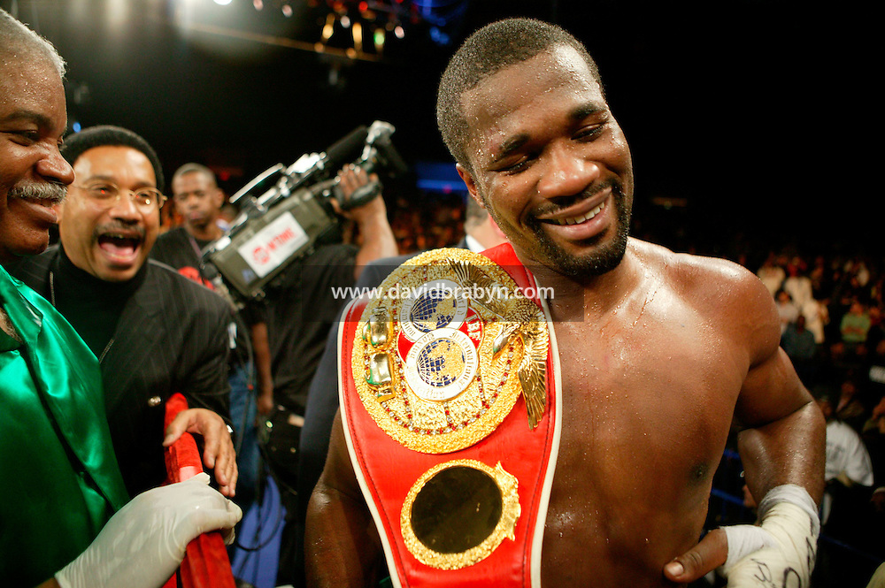7 January 2006 - New York City, NY - Jamaican O'Neill Bell (R) smiles at a joke after defeating Frenchman Jean-Marc Mormeck (not pictured) in the World Cruiserweight Championship unification fight at Madison Square Garden in New York City, USA, 7 January 2006. O'Neil Bell won by KO in the 10th round.