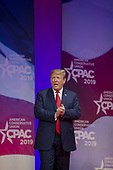 U.S. President Donald Trump greets supporters during CPAC 2019 on March 02, 2019 in Washington, DC. The American Conservative Union hosts the annual Conservative Political Action Conference to discuss conservative agenda. <br /> Credit: Tasos Katopodis / Pool via CNP