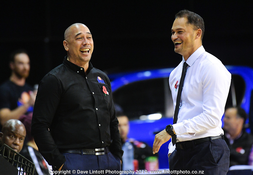 Saints coach Paul Henare chats with Sharks coach Judd Flavell during the national basketball league match between Cigna Wellington Saints and Southland Sharks at TSB Bank Arena in Wellington, New Zealand on Thursday, 25 April 2019. Photo: Dave Lintott / lintottphoto.co.nz
