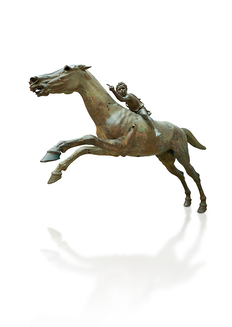 'Jockey of Artrmision' a Hellenistic bronze statue of a boy riding a horse. National Archaeological Museum Athens. Circa 140 BC. Cat No X 15177, Against white, <br /> <br /> Retrieved in pieces from a shipwreck of Cape Artemision in Euboea. The young jockey holds a rein in his left hand and a whip in his right. His face has a passionate expression with furrowas on his face. The pieces of the Bronze sculpture were reassembled in 1971.