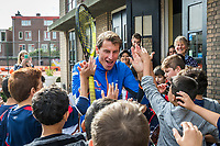 The Hague, The Netherlands, September 13, 2017,  Sportcampus , Davis Cup Netherlands - Chech Republic, Streettennis with Davis Cup Team, Paul Haarhuis (NED)<br /> Photo: Tennisimages/Henk Koster