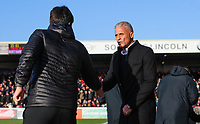 Lincoln City manager Danny Cowley, left, shakes hands with Northampton Town manager Keith Curle prior to the game<br /> <br /> Photographer Chris Vaughan/CameraSport<br /> <br /> The EFL Sky Bet League Two - Lincoln City v Northampton Town - Saturday 9th February 2019 - Sincil Bank - Lincoln<br /> <br /> World Copyright &copy; 2019 CameraSport. All rights reserved. 43 Linden Ave. Countesthorpe. Leicester. England. LE8 5PG - Tel: +44 (0) 116 277 4147 - admin@camerasport.com - www.camerasport.com