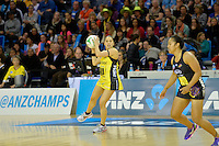 Liana Leota in action during the ANZ Championship 2014 - Haier Pulse v Waikato Magic at Te Rauparaha  Arena Centre, Porirua, Wellington, New Zealand on Monday 5 May 2014. <br /> Photo by Masanori Udagawa. <br /> www.photowellington.photoshelter.com.