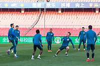 Players from Chinese Super League team Shanghai Shenhua practice before their game with Beijing Guo'an at the Worker's stadium in Beijing. 1st April, 2017.