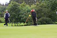 Colin Cunningham (Carton House) & Stephen Healy (Carton House) on the 2nd green during round 1 of The Mullingar Scratch Cup in Mullingar Golf Club on Sunday 3rd August 2014.<br /> Picture:  Thos Caffrey / www.golffile.ie