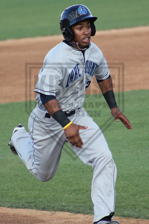 GENEVA - June 2012: Francisco Lindor (12) of the Lake County Captains, Class-A affiliate of the Cleveland Indians during the Midwest League All-Star Game on June 19, 2012 at Fifth Third Bank Ballpark  in Geneva, Illinois. (Photo by Brad Krause). ..