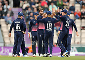 29th September 2017, Ageas Bowl, Southampton, England; One Day International Series, England versus West Indies; Liam Plunkett of England celebrates with team mates after catching West Indies Kyle Hope off his own bowling