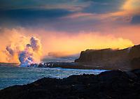 The Kamokuna Lava Flow entry point into the sea, Hawai'i Volcanoes National Park, Hawai'i Island.