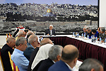 Palestinian president Mahmoud Abbas gives a speech during a meeting of Palestinian leadership in the West Bank city of Ramallah on July 21, 2017, during which he announced freezing contacts with Israel over new security measures the highly sensitive Jerusalem holy site of Al-Aqsa mosque compound, known to Jews as the Temple Mount, after deadly clashes erupted earlier the same day. The new security measures include metal detectors, security cameras, and barring men under 50 from entering the Old City for Friday Muslim prayers, and came after an attack that killed two Israeli policemen the previous week. Photo by Thaer Ganaim