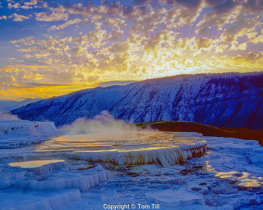 Minerva Spring, Yellowstone National Park, Wyoming, Mammoth Hot Springs, July, Sunset