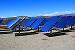 Heliostats reflecting sun rays, solar energy scientific research centre, Tabernas, Almeria, Spain - AORA Tulip System