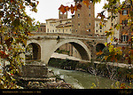 Ponte Fabricio 62 BC Convent and Bell Tower of San Bartolomeo all'Isola Isrealite Hospital Isola Tiberina Tiber River Rome