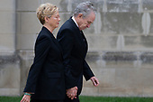Warren Beatty and Annette Bening arrive for the funeral service for late United States Senator John McCain (Republican of Arizona) at the Washington National Cathedral in Washington, DC on September 1, 2018. <br /> Credit: Alex Edelman / CNP